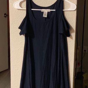 blue cold shoulder macys top